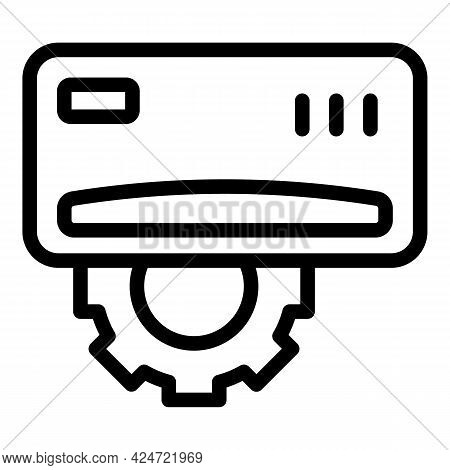 Repair Air Conditioner Gear Icon. Outline Repair Air Conditioner Gear Vector Icon For Web Design Iso