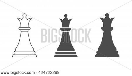 Chess Piece Is A Queen. An Empty, Filled, And Composite Polygon. Vector Icon Isolated On A White Bac