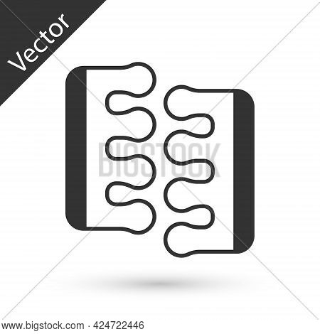 Grey Toe Separator For Pedicure Icon Isolated On White Background. Vector