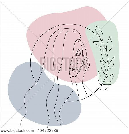 Linear Portrait Of A Beautiful Woman, Color Spots. Beauty Industry, Women's Holidays. Vector