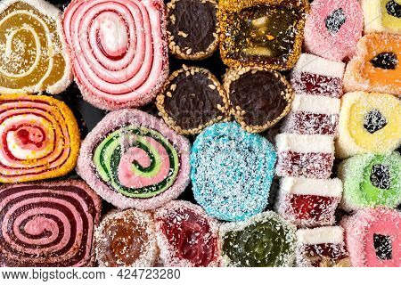 Assortment Of Colorful Jelly Candies Sweet Background