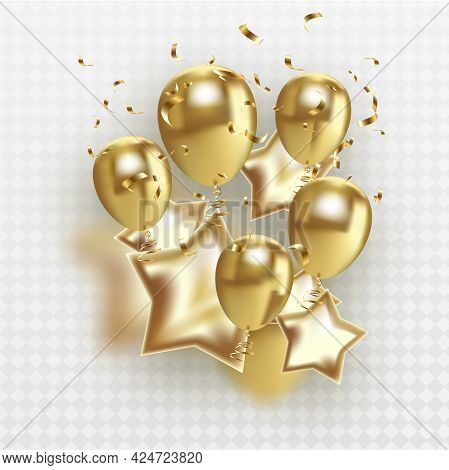 Golden Balloons Sheaf, Isolated On Transparent Background, With Gradient Mesh