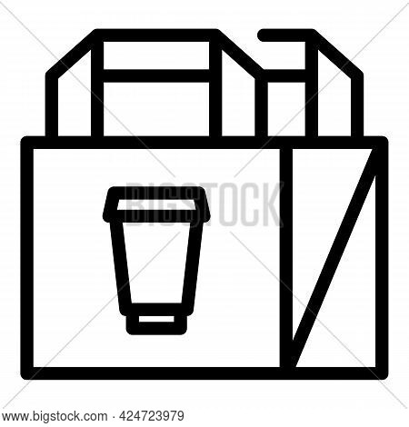 Take Away Food Paper Bag Icon. Outline Take Away Food Paper Bag Vector Icon For Web Design Isolated