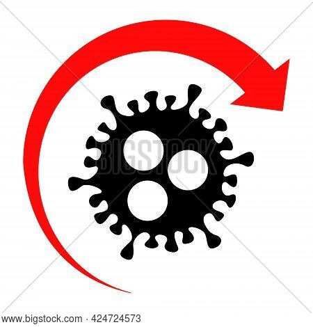 Virus Return Icon On A White Background. Isolated Virus Return Symbol With Flat Style.