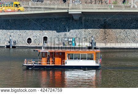 Prague, Czech Republic - July 23, 2019: Retro Pleasure Boat On Vltava River
