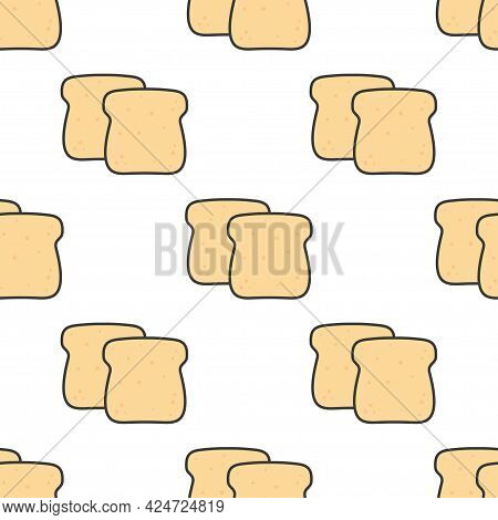 Slices Toast Bread Seamless Pattern On White Background, Bakery Pastry Product, Vector Illustration