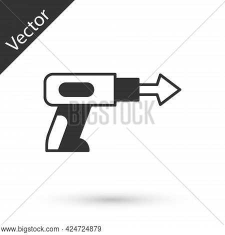 Grey Fishing Harpoon Icon Isolated On White Background. Fishery Manufacturers For Catching Fish Unde