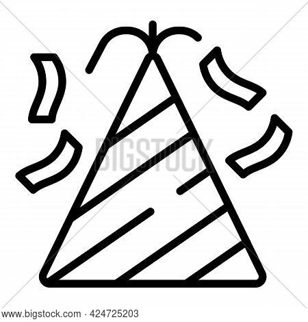 Fashion Party Hat Icon. Outline Fashion Party Hat Vector Icon For Web Design Isolated On White Backg