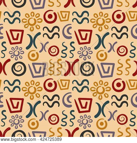 Abstract Signs And Elements, Ancient Writing. Seamless Pattern. Hand Drawn Vector Doodles Of Ancient