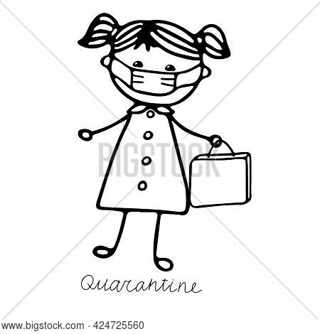 A Beautiful Hand-drawn Vector Illustration Of A Girl In A Medical Mask With A Bag Isolated On A Whit