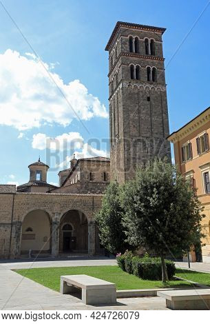 High Bell Tower Of The Cathedral City Of Rieti In The Lazio Region In Central Italy