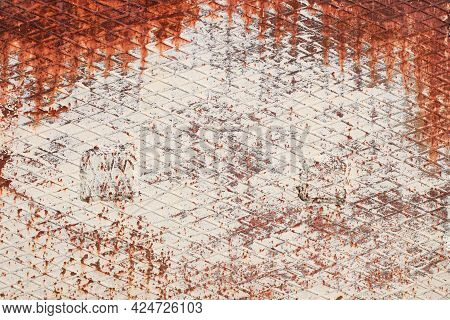 Corrugated Rhombic Rolled Steel Sheet With Rust. White Painted Metal. Rusty Metal Texture Background