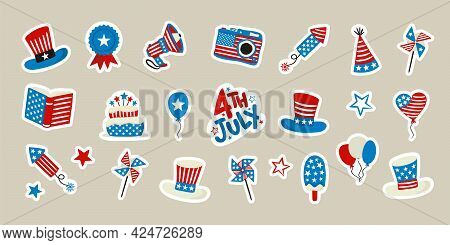 Set Of Stickers For Usa Independence Day. Symbols Of The United States Of America In National Colors