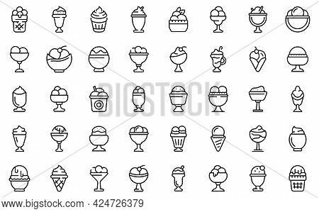 Gelato Bowl Icons Set. Outline Set Of Gelato Bowl Vector Icons For Web Design Isolated On White Back