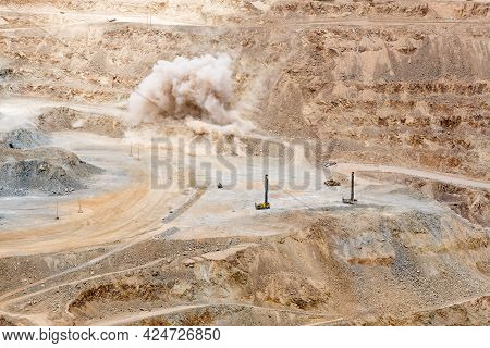 Mining Blast At An Open Pit Copper Mine In Chile