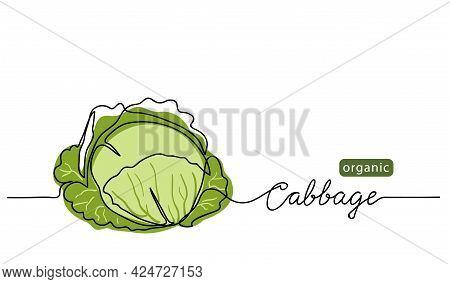 Cabbage Head, Cole Simple Vector Illustration For Background. One Line Drawing Art Illustration With