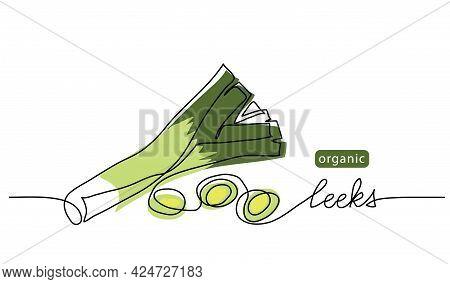 Leeks, Fresh Onion Stalk Vector Illustration, Background. One Line Drawing Art Illustration With Let