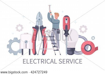 Electrician Cartoon Composition With Editable Text And Character Of Man On Ladder Surrounded By Hand