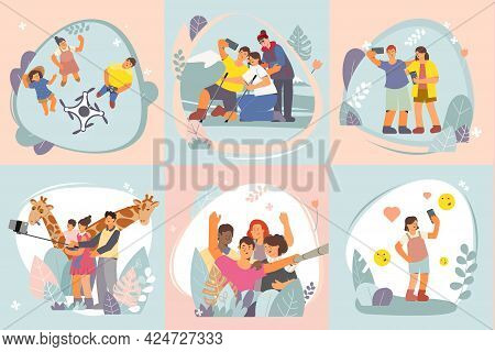 Set Of Color Compositions Showing How To Take A Selfie Flat Vector Illustration