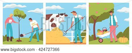Agriculture Flat Design Concept With Happy People Planting Tree Working With Pitchfork And Harvestin