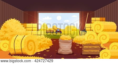 Bales Hay Barn Composition With Inside View Of Barn With Open Door With Haymow And Pitchfork Vector