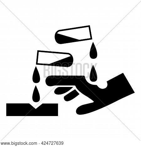 Beware Corrosive Substance Symbol Isolate On White Background,vector Illustration