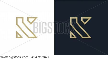 K Gold Letters. Double K Monogram. Logo Can Used For Business, Company, Clothes, Jewelry, Premium Go