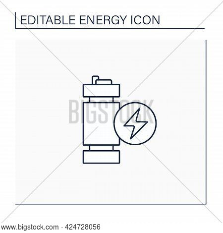 Modular Mini Reactor Line Icon. Nuclear Fission Reactor. Flexible Power Generation. Electricity Conc