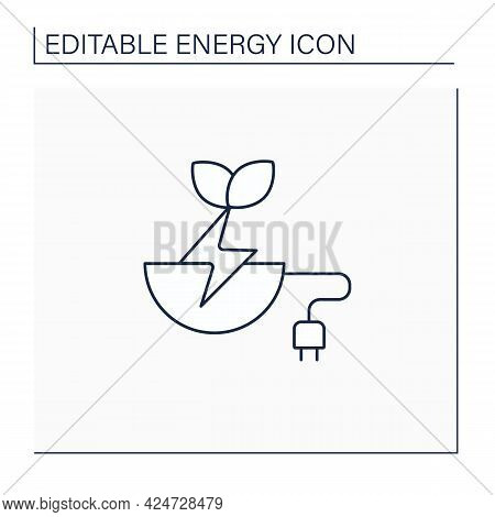 Biomass Energy Line Icon. Organic Energy Generation. Produced By Living Or Once-living Organisms. Po