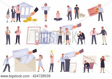 Government Support For Business During Financial Crisis Flat Icons Set With Characters Of Happy And