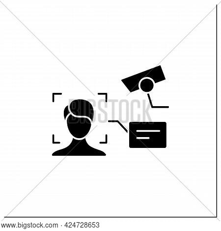 Video Face Recognition Glyph Icon. Authentication By Facial Recognition.identify Person Using Camera