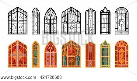 Colored And Black And White Oblong Mosaic Windows Of The Church Flat Vector Illustration