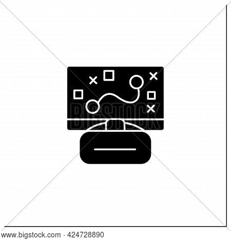 Game Glyph Icon. Strategy. Planning Actions. Virtual Reality Goggles And Laptop. Cybersport Concept.