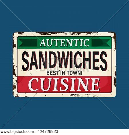Vintage Sandwiches Poster. Vector Illustration. Autentic Cusine