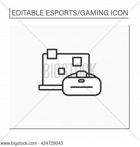 Technical Devices Line Icon. Laptop And Virtual Reality Goggles. Cybersport Concept. Isolated Vector