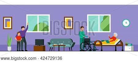 Nursing Home Characters Colored Composition Family Comes To Visit An Elderly Relative And A Nurse He