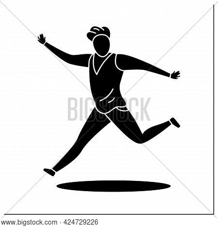 Person Pose Glyph Icon.man Running, Keeping Hands Up. Waving. Dancing. Looking Directly.people Poses
