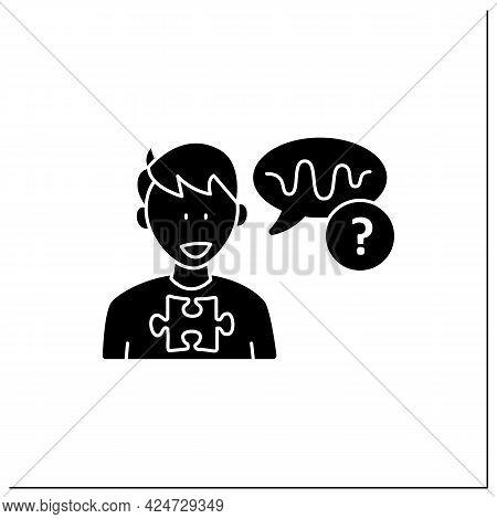 Neurodevelopmental Disorder Glyph Icon. Abnormal Voice Tone. Atypical Speech.odd Rhythm Or Pitch . A