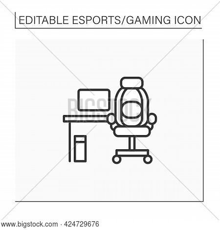 Furniture Line Icon. Comfortable Table And Armchair For Playing Games. Office, Game Room. Cybersport