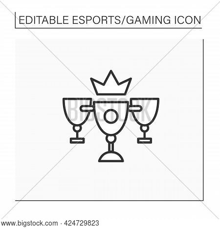 Champion Cups Line Icon.winner Golden Prizes. Fight On Tournaments. International Esports Competitio