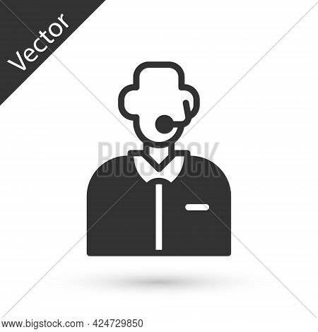 Grey Football Or Soccer Commentator Icon Isolated On White Background. Vector