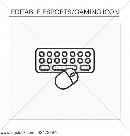 Technical Equipment Line Icon. Keyboard And Mice For Playing Video Games. Online Gaming Tools. Cyber