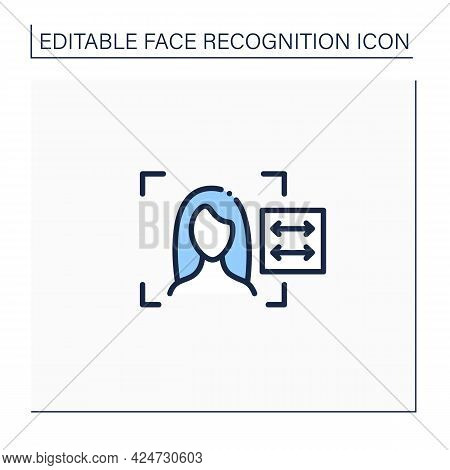 Face Recognition Reader Line Icon. Automatically Biometric Verification Technology. Mobile Applicati