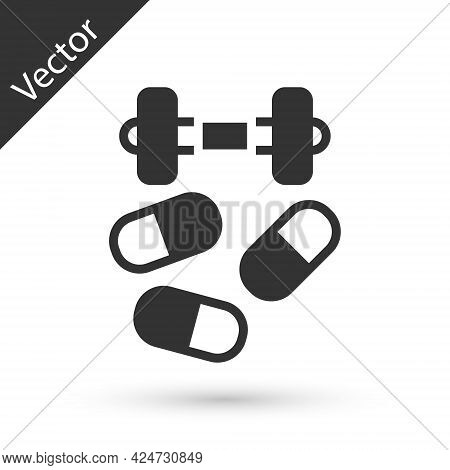 Grey Sports Doping, Anabolic Drugs With Dumbbell Icon Isolated On White Background. Anabolic Steroid
