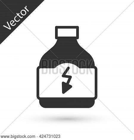 Grey Sports Nutrition Bodybuilding Proteine Power Drink And Food Icon Isolated On White Background.