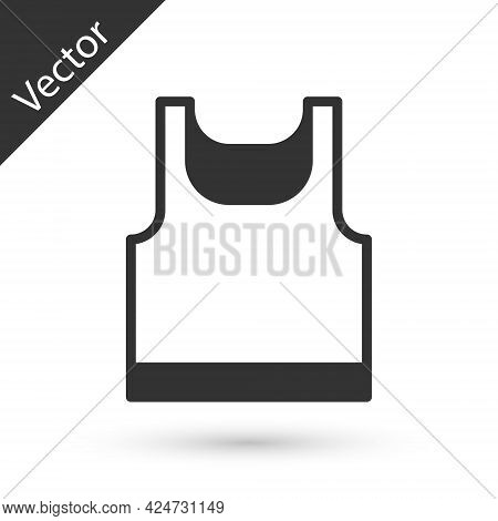 Grey Sleeveless Sport T-shirt Icon Isolated On White Background. Vector