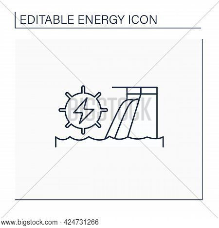 Hydroelectric Power Line Icon.harnesses Water Power. Waterfall Energy Generates Electricity. Electro