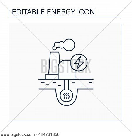 Geothermal Power Line Icon. Geothermal Energy. Dry Steam, Flash Steam, Binary Cycle Power Station. E