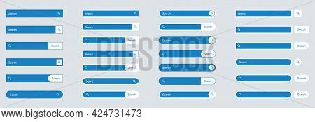 Search Bar Set In Flat Design, Minimalistic Style Vector Image.