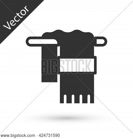 Grey Towel On Hanger Icon Isolated On White Background. Bathroom Towel Icon. Vector